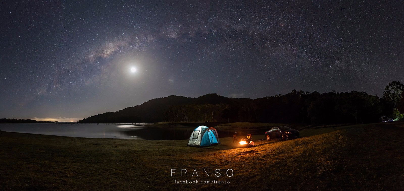 Starscape and Milkyway |  | Camp fire | Moon, Camp Fire, Tent